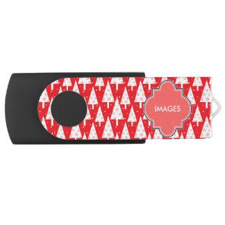 赤いクリスマスツリーパターン USBフラッシュドライブ