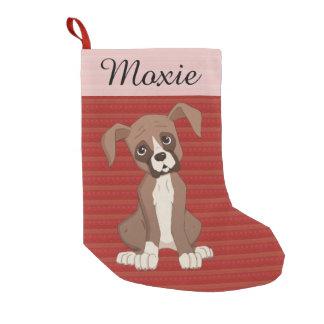 赤いクリスマスパターンのボクサーの子犬 スモールクリスマスストッキング