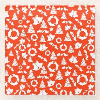 赤いクリスマスパターン ガラスコースター