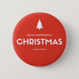 赤いクリスマスボタン 5.7CM 丸型バッジ