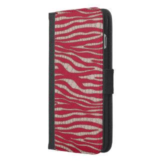 赤いクリーム色のシマウマの抽象芸術 iPhone 6/6S PLUS ウォレットケース