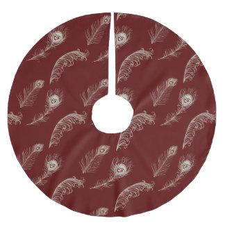 赤いクリーム色の孔雀の羽 ブラッシュドポリエステルツリースカート