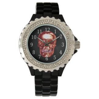 赤いクロムスカルの腕時計 腕時計