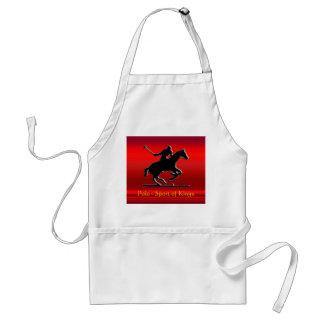 赤いクロム一見の黒いポロ用の小馬そしてライダー スタンダードエプロン