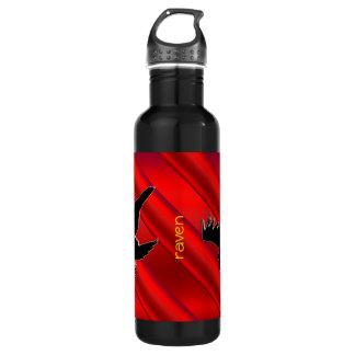 赤いクロム効果のエンボス一見の黒のワタリガラス ウォーターボトル