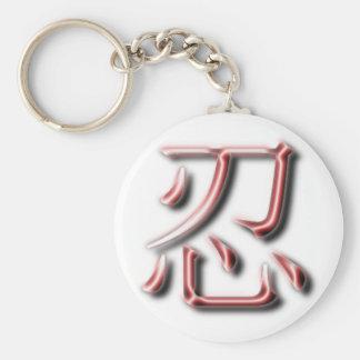 赤いクロムNIN漢字の円形のキーホルダー キーホルダー