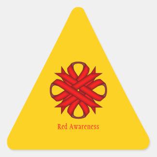 赤いクローバーのリボン 三角形シール