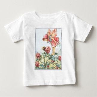 赤いクローバーの妖精の幼児幼児のTシャツ ベビーTシャツ