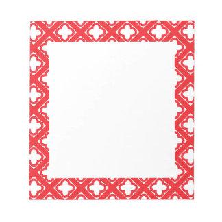 赤いクローバーパターン ノートパッド