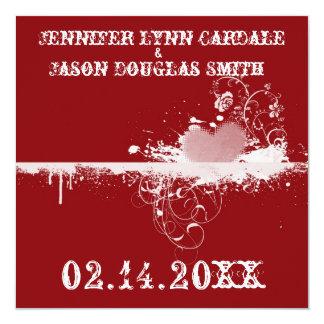 赤いグランジなハートのバレンタインの結婚式招待状 カード