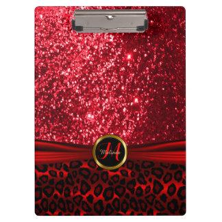 赤いグリッターおよびヒョウの皮のデザイン クリップボード