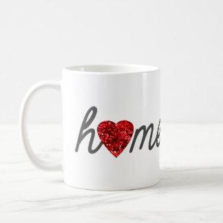 赤いグリッターのハートのHomeschoolのコーヒー・マグ コーヒーマグカップ