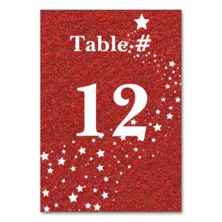 赤いグリッターの一見の休日のテーブル数 カード