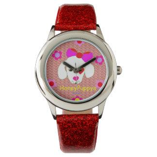 赤いグリッターの革紐の腕時計とのHoneyPuppysのグリッター 腕時計