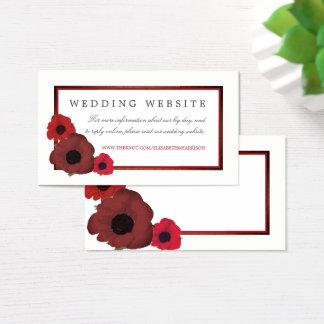 赤いケシおよびバーラップの結婚式のウェブサイト 名刺
