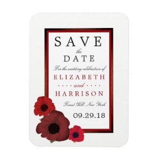 赤いケシおよびバーラップの結婚式は日付を救います マグネット