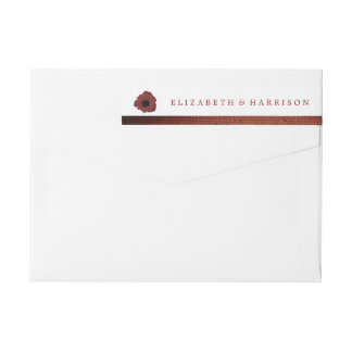 赤いケシおよびバーラップの結婚式 ラップアラウンド返信用宛名ラベル