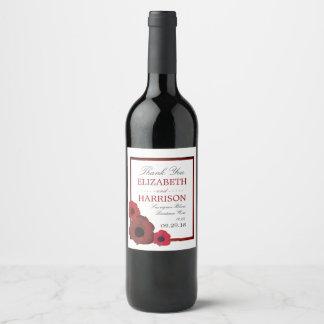 赤いケシおよびバーラップの結婚式 ワインラベル