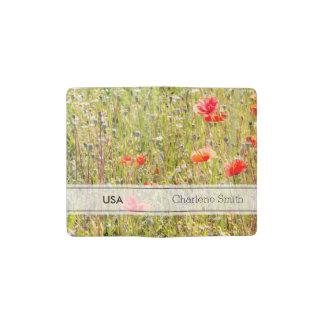 赤いケシおよび野生の花の花柄分野 ポケットMoleskineノートブック