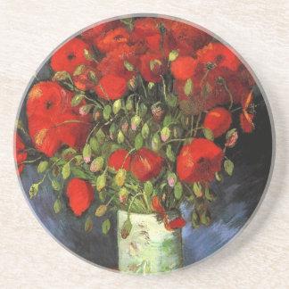 赤いケシが付いているゴッホのつぼ、ヴィンテージのファインアート コースター