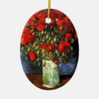 赤いケシが付いているゴッホのつぼ、ヴィンテージのファインアート セラミックオーナメント