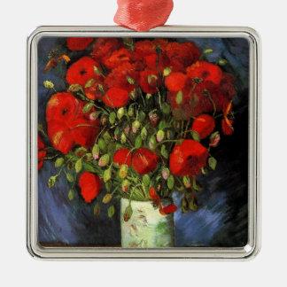 赤いケシが付いているゴッホのつぼ、ヴィンテージのファインアート メタルオーナメント