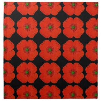 赤いケシが付いている布の夕食ナプキンによってはdesingが開花します ナプキンクロス