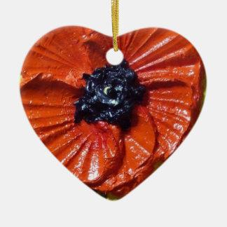 赤いケシのオーナメント 陶器製ハート型オーナメント