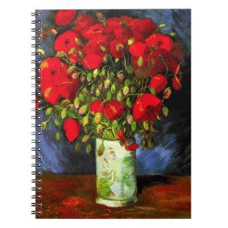 赤いケシのノートが付いているゴッホのつぼ ノートブック