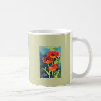 赤いケシのマグ コーヒーマグカップ
