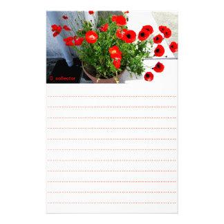 赤いケシの写真の文房具 便箋