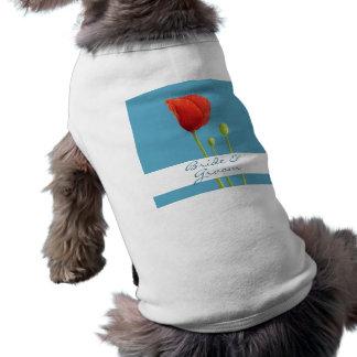 赤いケシの水の結婚式犬のTシャツ ペット服