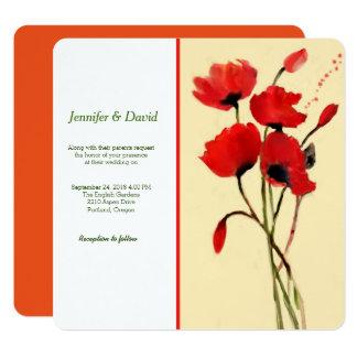 赤いケシの水彩画のカスタムの結婚式招待状 カード