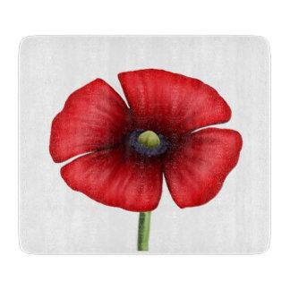 赤いケシの独身のな茎の小さいガラスまな板 カッティングボード