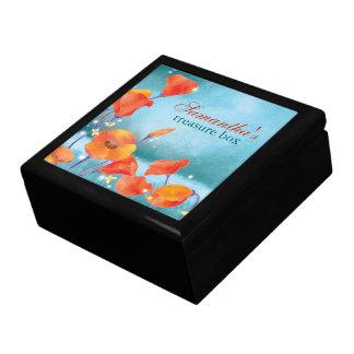 赤いケシの素朴なターコイズの花柄 ギフトボックス