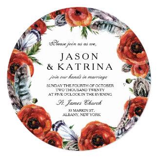 赤いケシの結婚式招待状 カード