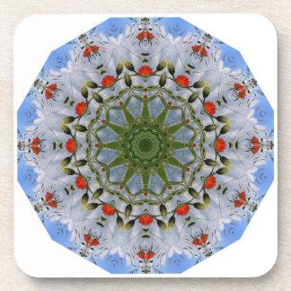 赤いケシの自然、花曼荼羅 コースター