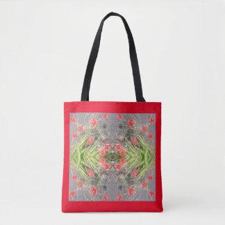 赤いケシの花のフラクタルのトートバック トートバッグ