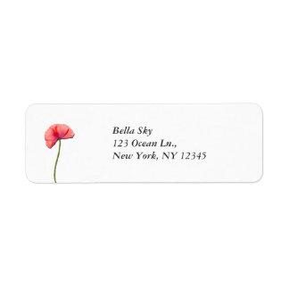 赤いケシの花のミニマリストの簡易性を歌って下さい ラベル