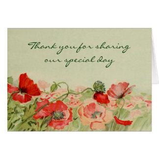 赤いケシの花の花柄を結婚するヴィンテージは感謝していしています カード