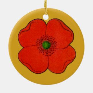 赤いケシの花を持つオーナメント セラミックオーナメント