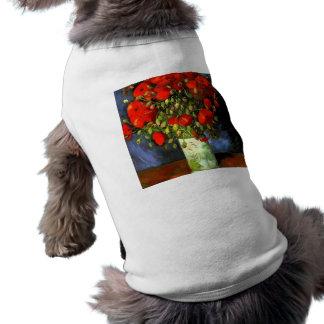 赤いケシの花柄の芸術のフィンセント・ファン・ゴッホのつぼ ペット服