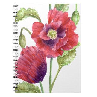赤いケシの花柄の芸術 ノートブック
