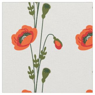 赤いケシの花柄パターン ファブリック