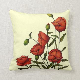 赤いケシの花: オリジナルのアートワーク クッション