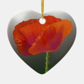 赤いケシの花 陶器製ハート型オーナメント