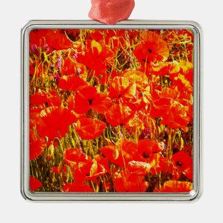 赤いケシの野生の花の芸術のデザインの明るい分野 メタルオーナメント