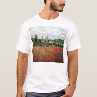 赤いケシのTシャツのMonet分野 Tシャツ