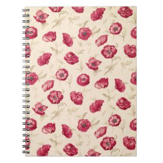 赤いケシパターンノート ノートブック