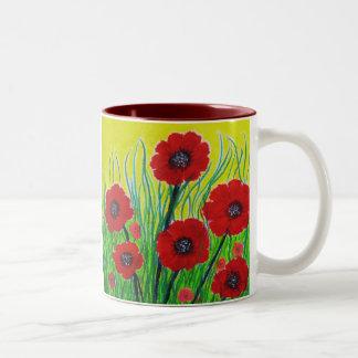 赤いケシ ツートーンマグカップ